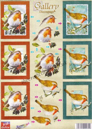 Christmas Robins Dufex 3d Decoupage Die Cut Sheet